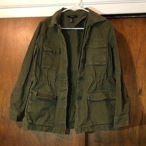 f21 olive twill jacket